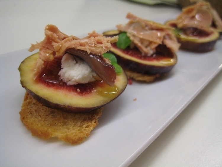 Fig, anchovy and foie gras at Tapas 24 in Barcelona, Photo by Brett