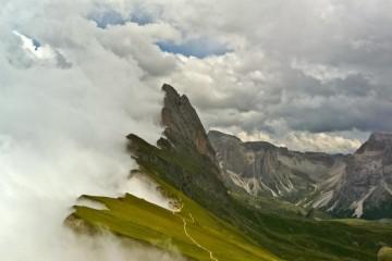 Italy, Dolomites stormy sky
