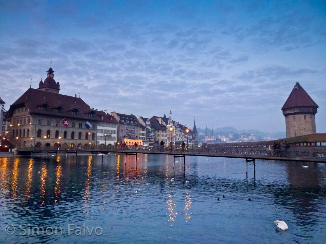Switzerland, Lucerne at Twilight