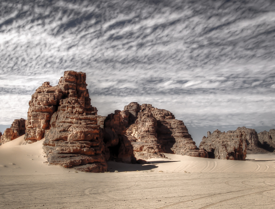 Algeria Desert, Rocks in the Sand