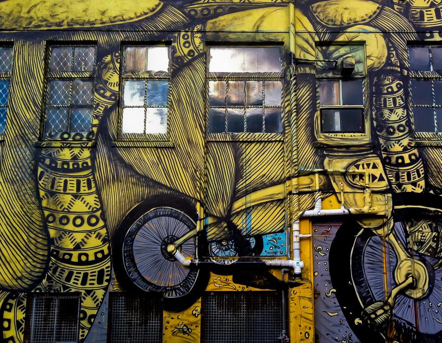 New Plymouth Mikaere Gardiner Yellow Bike Graffiti