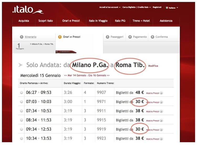 Italo Schedules and Prices