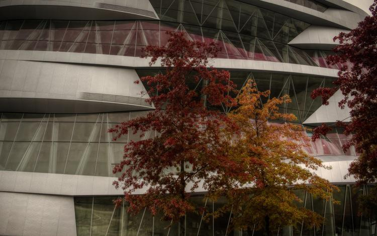 Stuttgart Mercedes-Benz Museum in Autumn