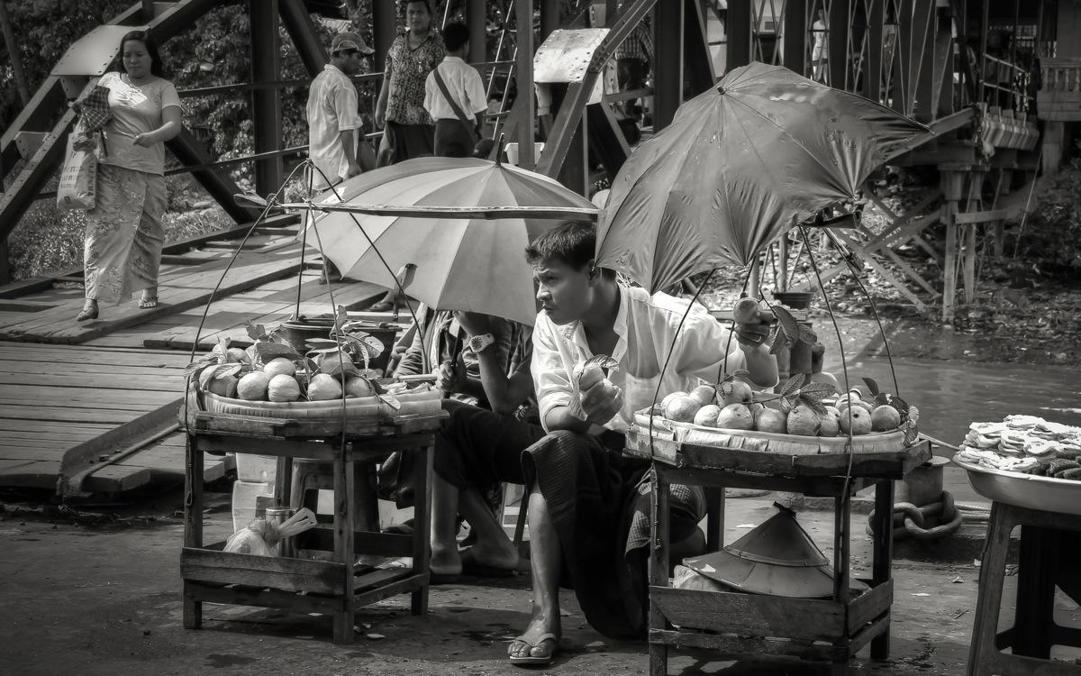 Yangon, A Vendor at Pansodan Terminal