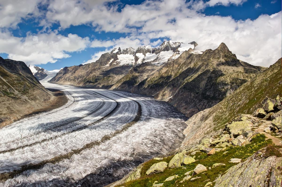 Switzerland, the Aletsch Glacier from the Aletsch Arena