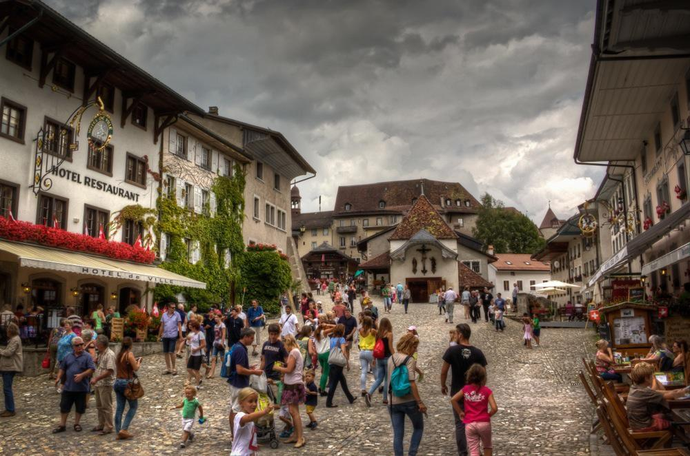 Gruyères, Switzerland, Wlaking to the Castle