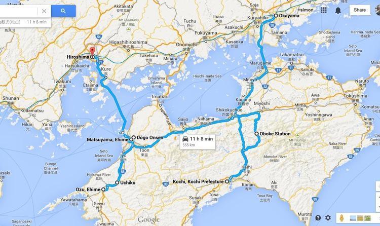 Shikoku Map and Itinerary
