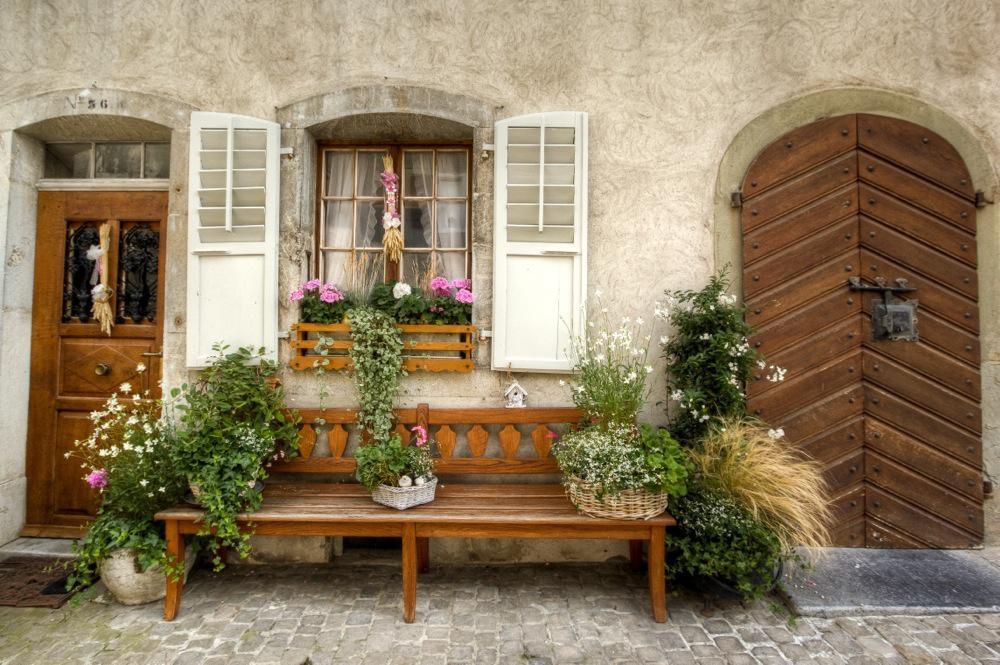 Switzerland, Decorative Bench in Gruyères