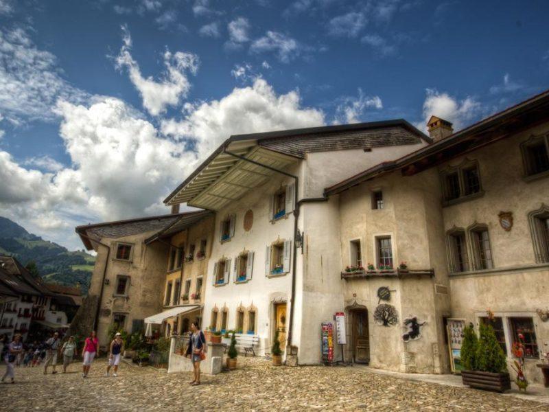 Switzerland-Gruyères-Medieval-Houses