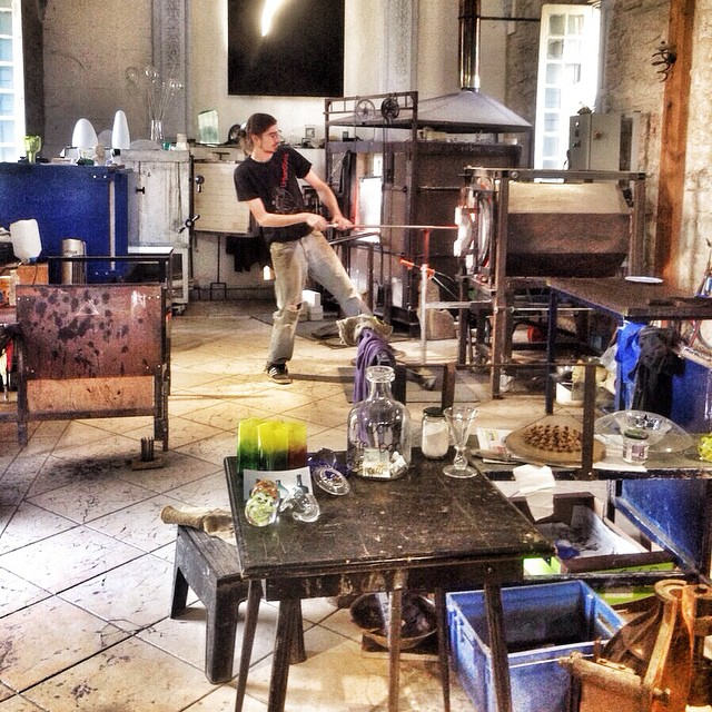 France, Glass Blowing at the Glasswork Museum and Centre of Art