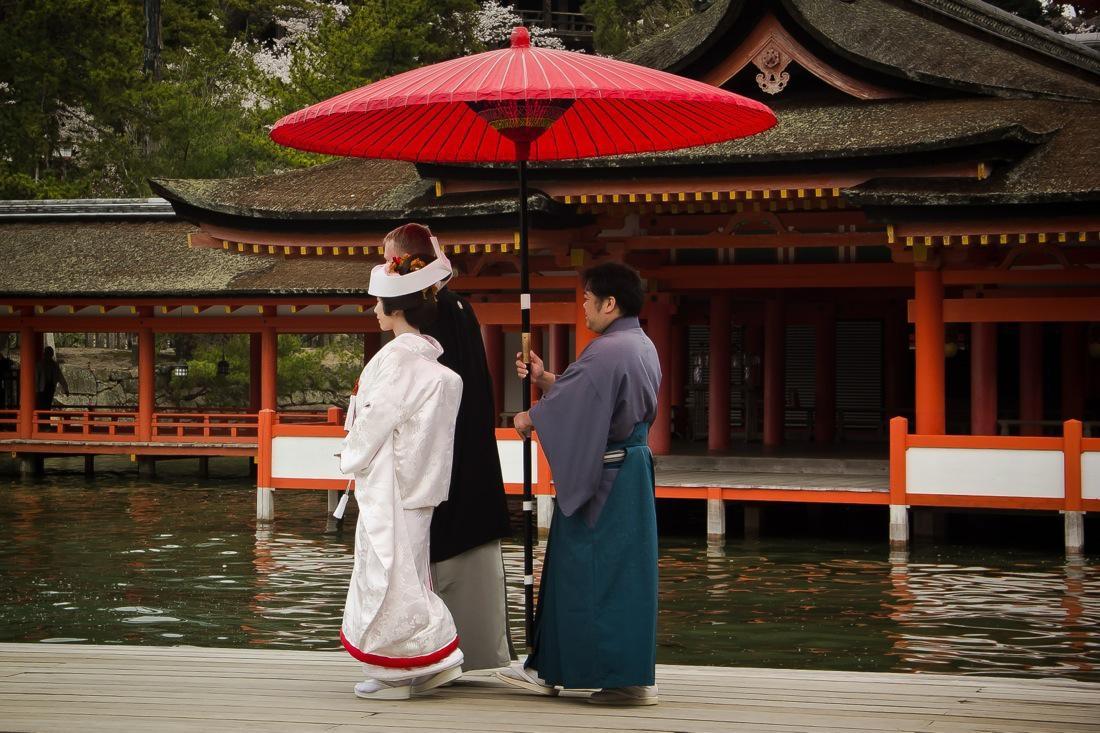 Newly Wed at the Itsukushima Shrine