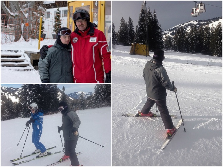 Ludo, with ski instructors Rolf and Fiona