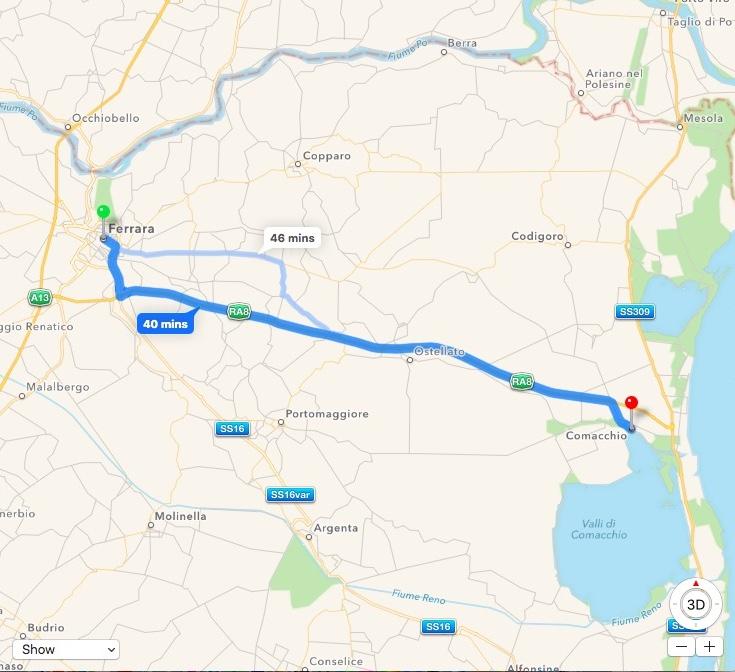 Map Ferrara-Comacchio