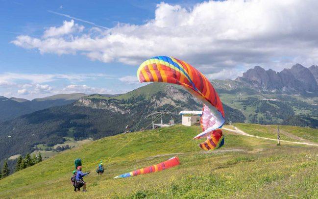 Dolomites, Paragliding at Seiser Alm