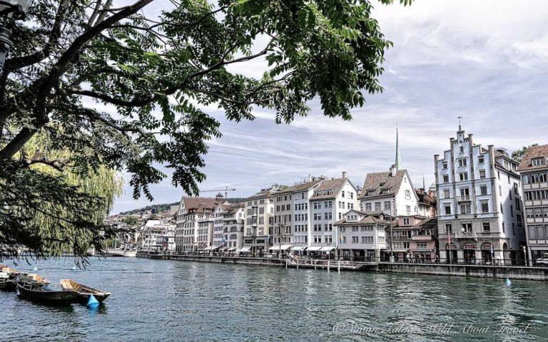 Switzerland, Zurich Old Town along the Limmat River