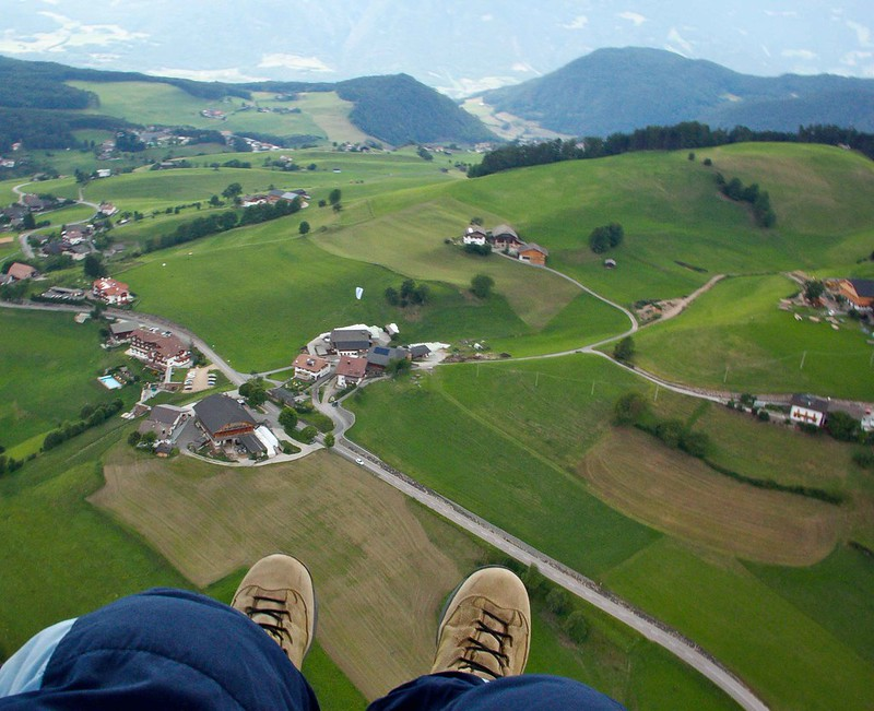 Paragliding flight over Seiser Alm