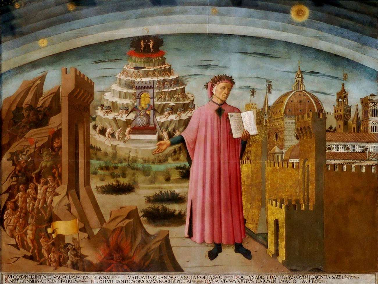 The Divine Comedy Illuminating Florence, Fresco in Florence Cathedral